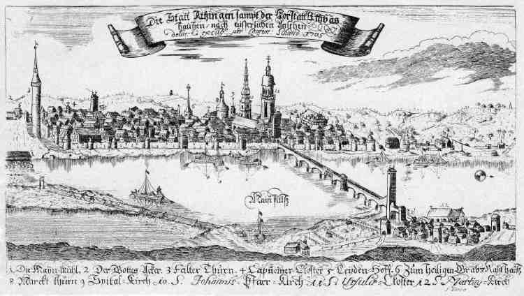 Kupferstich Kitzingen, 1705